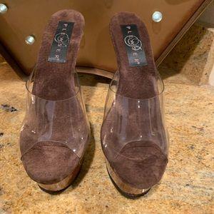 New Pleaser Brown Wood Heels Size 5
